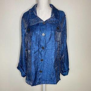 Elementz Metallic Blue Button Down Shirt